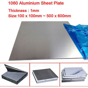 Aluminium Sheet Plate 1060 Various Sizes and 1mm Thicknesses 500x600mm 100x100mm