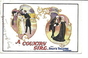 """Artist Drawn Theatre Ad.- """"A Country Girl"""" from Daly's Theatre, London"""