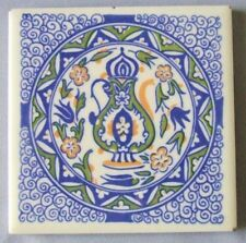 Mosaic Tile Company Trivet Moroccan Motif Blue on White Mid Century Kitsch