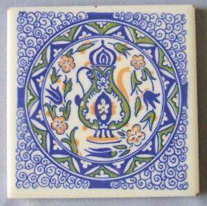 Mosaic Tile Company Trivet Moroccan Motif Blue on White Mid Century Kitsch