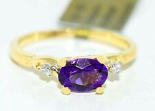 GENUINE 0.79 AMETHYST & DIAMONDS RING 10K GOLD ** Free Appraisal Service **