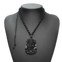 Natural Obsidian Fashion Dragon Pendant Necklace Men Lucky Jewelry 1