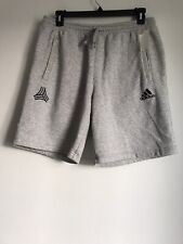 NEW ADIDAS COTTON POLYESTER GRAY DRAWSTRING WAIST POCKET MEN'S SHORTS SIZE L
