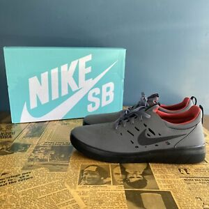 Nike SB Nyjah Free Dark Grey Black & Gym Red Skate Shoes (AA4272-005) 8.5
