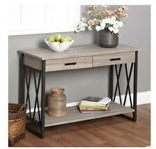 NEW Grey Rustic Reclaimed Wood Sofa Table Console Metal Industrial Drawer Modern