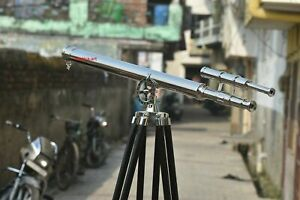 Brass 39 Inch Telescope With Wooden Tripod Stand Antique Nautical Floor Standing