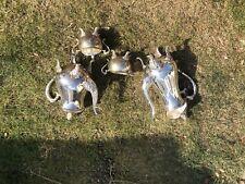Vintage ornate silver plated 4 piece tea set heavy gauge