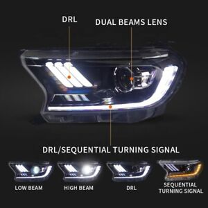 Mustang Style LED Projector Headlights Suitable For Ford Ranger PX2,PX3