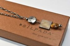 Silpada Oxidized Sterling Silver Tigers Eye MOP Pendant Chain Necklace N1336