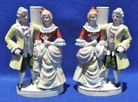 Pair Antique/Vtg Hnd Ptd Porcelain Victorian Couple Figurines Lamp Bases Japan