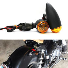 2X Universal Motorcycle Black Mini Bullet Turn Signals Blinker Amber Pack US