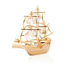 24K Gold Plated Mayflower Ship With Swarovski Crystals Figurine or Ornament