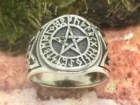 Pentagramme avec Runes Bague en Argent 925 Noeud Celte Futhark Chevalière