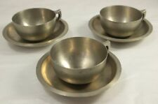 Vintage German Silver Cups + Saucers - Made in Germany / Italy