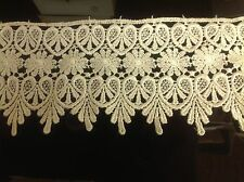 NEW 3 3/4 INCH IVORY MEDALLION LACE FABRIC TRIM