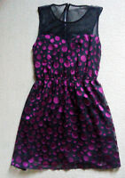 Forever 21 size M party dress Black with a mesh open top and deep purple circles