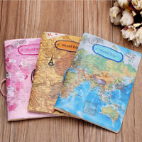 Leather World Map Passport Holder Organizer Travel Card Case Document Cover Hot