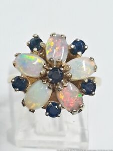 Designer Signed Natural Sapphire 1.4ctw Opal 14K Yellow Gold Ladies Ring Sz 5.25