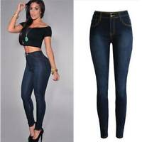 Women Ladies Skinny Denim Jeans High Waist Elastic Pencil Pants Simple Trousers