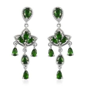 4.93ctw Natural Russian Diopside & Zircon Earrings Platinum Over Sterling Silver
