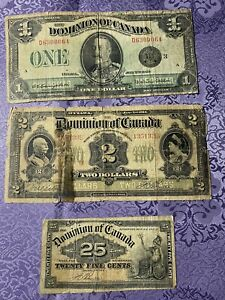 Dominion of canada banknotes lot Circulated1900 1914 1923 One Dollar Two Dollars