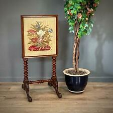 More details for attractive antique victorian bobbin turned carved mahogany tapestry fire screen