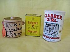 Vtg Herbs of Provence, 2008 Claber Girl Baking Powder, 1970s Colmans Mustard Tin