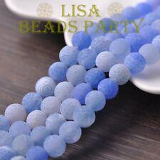 50pcs 6mm Round Natural Stone Loose Gemstone Beads Lt Blue Efflorescent Agate