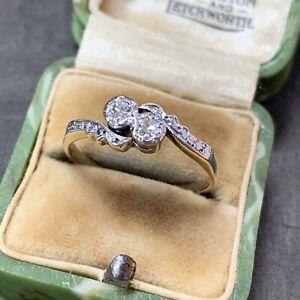 Art Deco Diamond Engagement Ring 9ct Gold Platinum Antique 0.18CT Size UKO, US 7