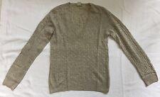 JCrew Powder Grey Cashmere V-Neck Cable Knit Sweater Sz S EUC