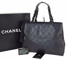 Authentic CHANEL Black Quilted Lambskin Leather Tote Hand Bag #23315