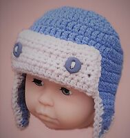 0-2 BABY BOYS HAND CROCHETED AVIATOR PILOT HAT photo prop knit beanie blue gift