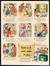 1944 SWAN Soap - Cute Swan Cartoon Comic Strip - Retro WWII Era VINTAGE AD