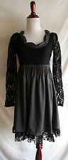 NWT Ryu Size Small Black & Gray Victorian Lace Ruffled Tea Party Dress