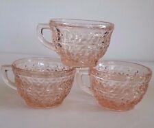 Depression Glass BUTTONS AND BOWS Pink CUP Jeannette Lot of 3 Vintage Glassware