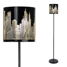 Modern New York Skyline Gloss Black Floor Standing Light Standard Lamp NEW