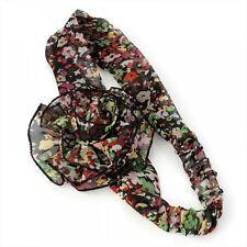 Black tone fleur motif imprimé floral bandeau head wrap front cheveux bande vente