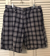 Mens Dress Shorts 38 Covington Cotton 4 Pocket Belt Loops Blue Madras Type Plaid