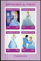 Chad 2019 MNH Cinderella 4v IMPF M/S Disney Cartoons Animation Stamps