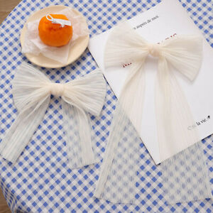 Women Net Yarn Bowknot Ribbon Hair Clip Elegant Pearl Streamer Hair Accessories