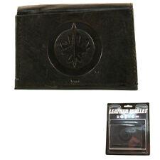 More details for winnipeg jets black leather tri-fold wallet