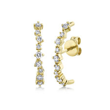 14K Yellow Gold Diamond Curved Stick Stud Earrings Unique Round Cut Natural