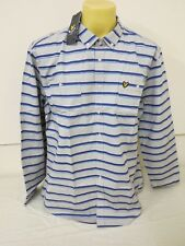 LYLE SCOTT VINTAGE MENS HAND DRAWN STRIPED WOVEN OVER SHIRT MINERAL GREY XXL 2XL