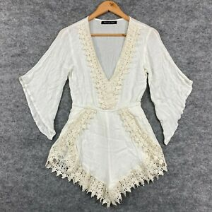 White Fox Womens Playsuit Size Small White 3/4 Kimono Sleeve Lace Boho 174.01
