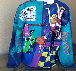 Kolorway Hand Painted Womens VNeck Sweater Aerobic 2X Keep Fit Work Out Blue NWT