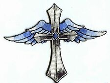 Iron On Patch Embroidered Applique Religious Cross with Blue Angel Wings
