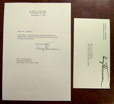 President Harry S. Truman signed letter with original Free Frank envelope 1967