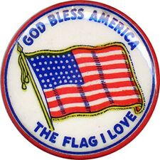1940s WWII Home Front GOD BLESS AMERICA Patriotic Flag Pinback (4440)