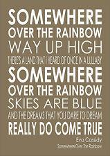 Somewhere Over The Rainbow Eva Cassidy Lyrics Wedding Engagement Word Wall Art