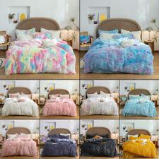 Tie Dye Plush Furry Duvet Cover Set Faux Fur Shaggy Duvet Pillow Case Sheet Home